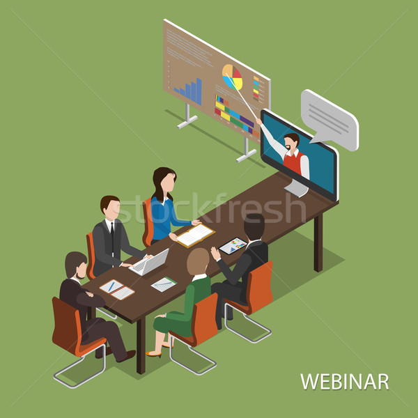 Webinar Flat Isometric Vector Concept. Stock photo © TarikVision