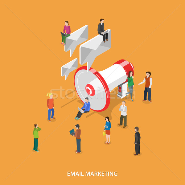 E-mail marketing isometrische vector mensen mobiele Stockfoto © TarikVision