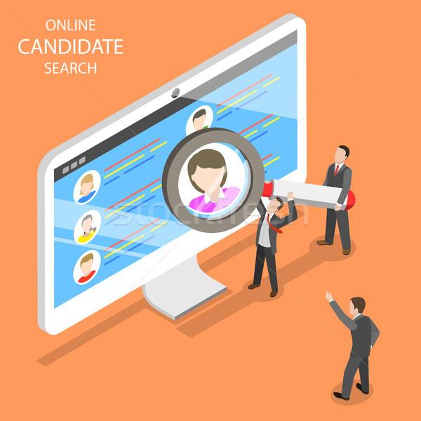 онлайн кандидат поиск изометрический вектора группа Сток-фото © TarikVision