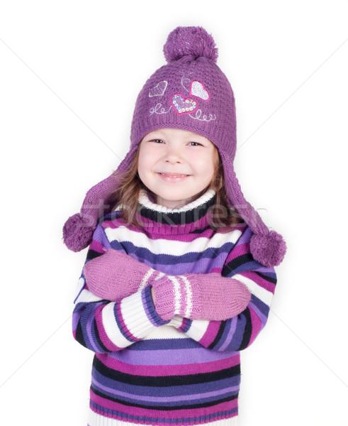 Aranyos kislány meleg ruházat fehér kezek Stock fotó © TarikVision
