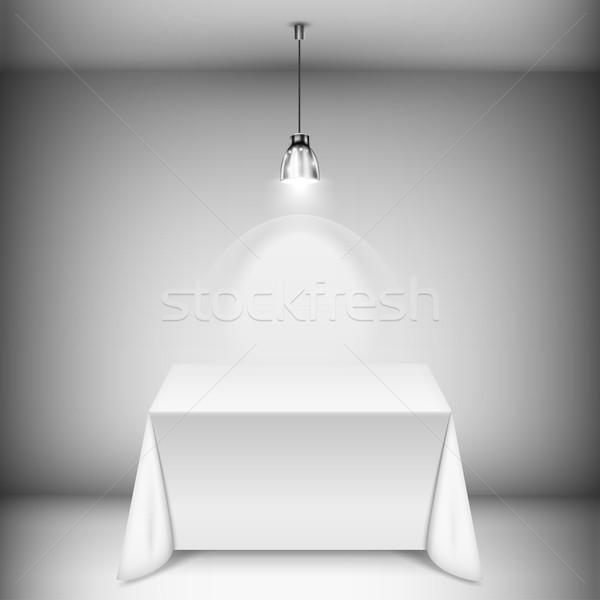 Stok fotoğraf: Tablo · masa · örtüsü · spot · ışık · lamba
