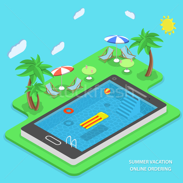 Summer vacation online ordering vector concept. Stock photo © TarikVision