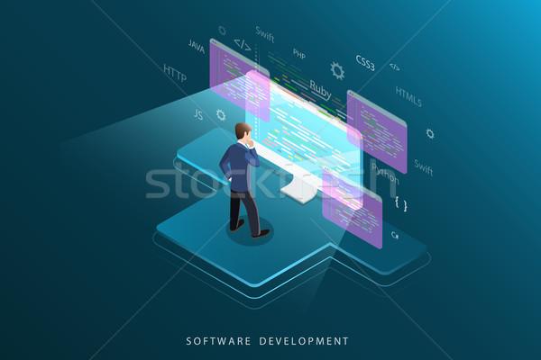 Software ontwikkeling isometrische vector programmering codering Stockfoto © TarikVision
