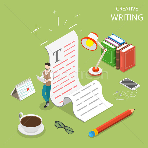 Stock photo: Flat isometric vector concept of creative writing.