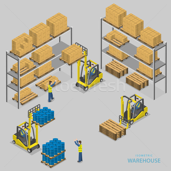 Stock photo: Warehouse loading isometric vector illustration.