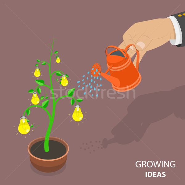 Growing ideas flat isometric vector concept. Stock photo © TarikVision