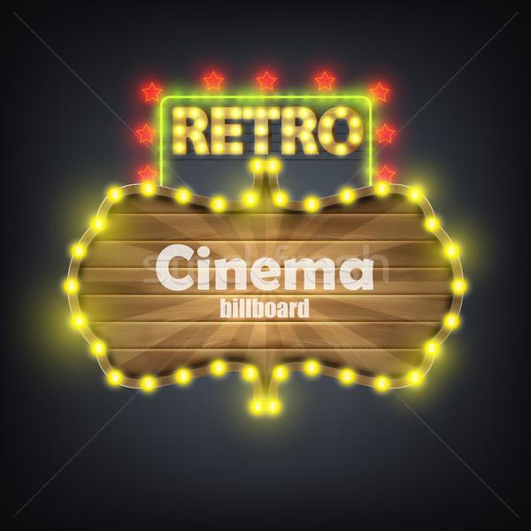 Houten bioscoop retro billboard banner ontwerp Stockfoto © TarikVision