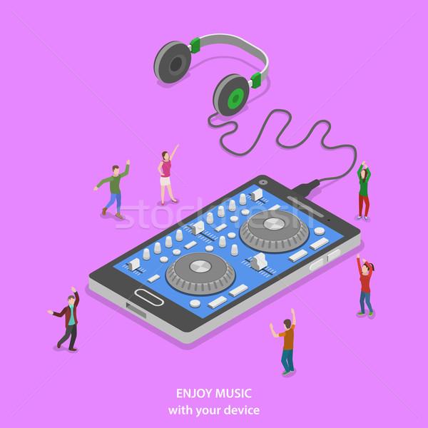 Foto stock: Desfrutar · música · isométrica · vetor · pessoas · dança