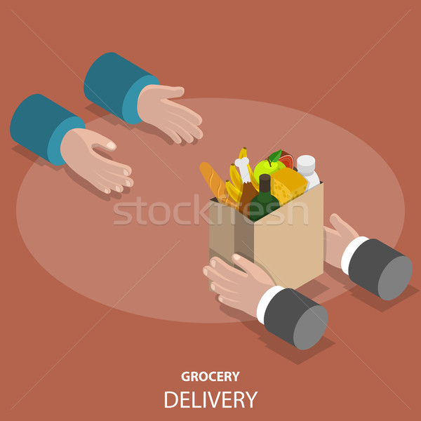 Stock photo: Grocery fast delivery flat isometric vector concept