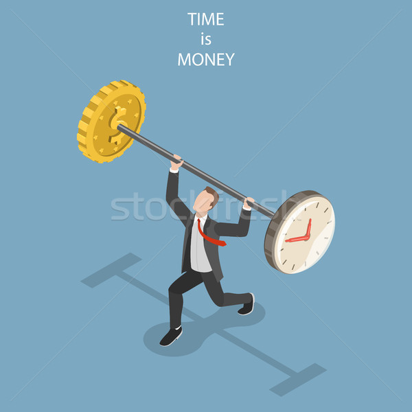 Time is money flat isometric vector concept. Stock photo © TarikVision