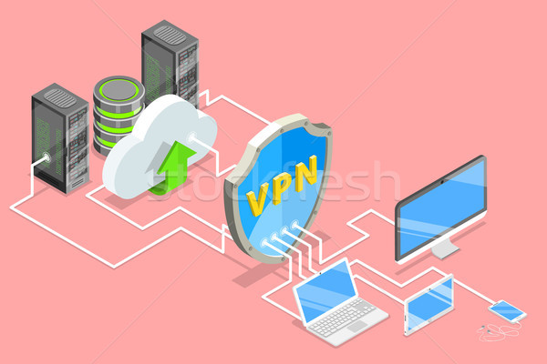VPN protection isometric flat vector conceptual illustration. Stock photo © TarikVision