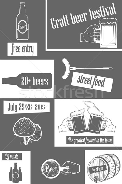 Beer Craft Fest Two-color Vertical Flyer. Stock photo © TarikVision