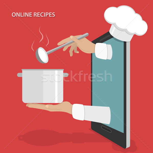 Online dishes recipes vector concept. Stock photo © TarikVision