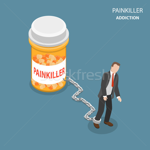 Pinkiller addiction flat isometric vector concept. Stock photo © TarikVision