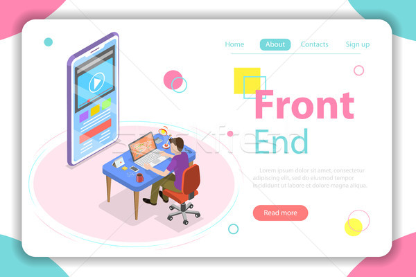 Front end flat isometric vector concept illustration. Stock photo © TarikVision