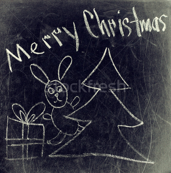 Chalk drawing - Merry Christmas Stock photo © TarikVision