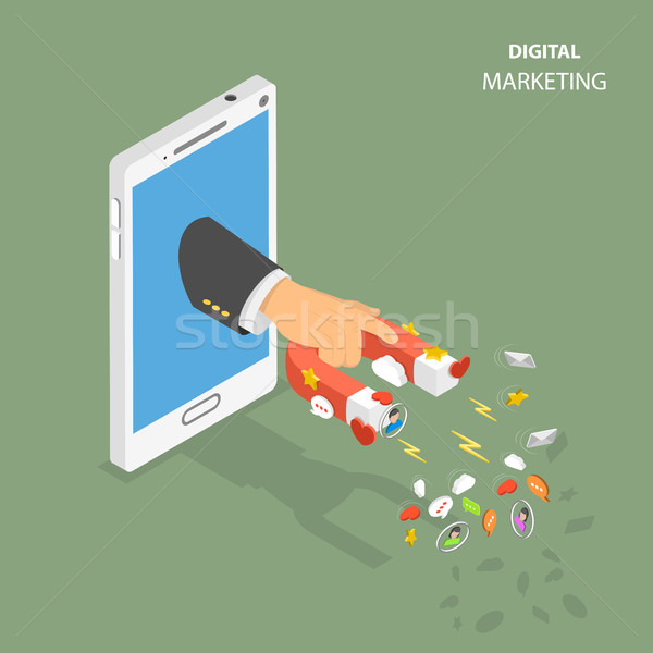 Digital marketing flat isometric vector concept Stock photo © TarikVision