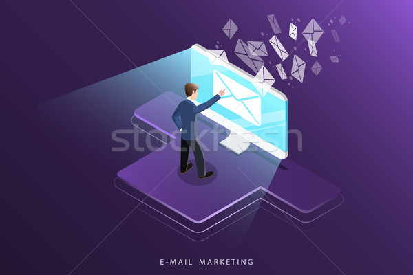 E-mail marketing isometrische vector reclame campagne Stockfoto © TarikVision
