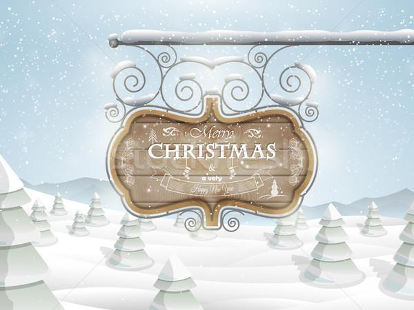 ボード クリスマス 挨拶 陽気な 木板 ストックフォト © TarikVision