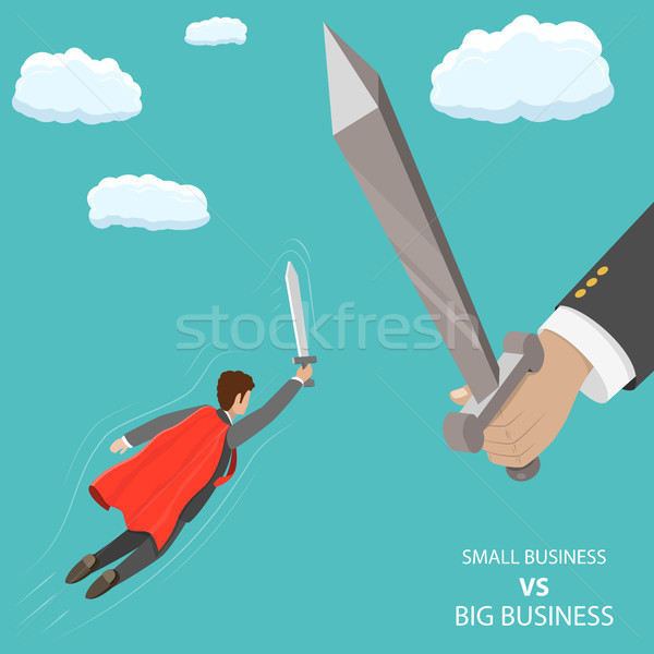 Small business VS big flat isometric vector concept Stock photo © TarikVision