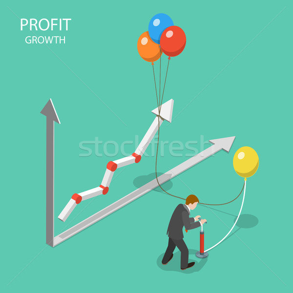 Profit growth flat isometric vector concept. Stock photo © TarikVision