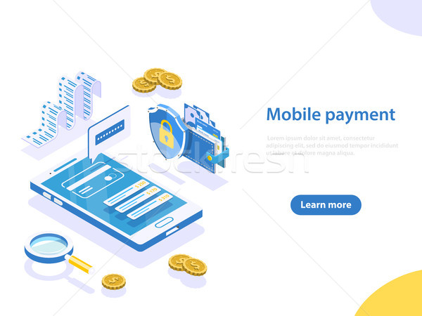 Mobile payment flat isometric vector concept. Stock photo © TarikVision