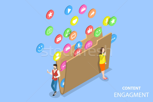 Customer engagement strategy isometric flat vector concept. Stock photo © TarikVision