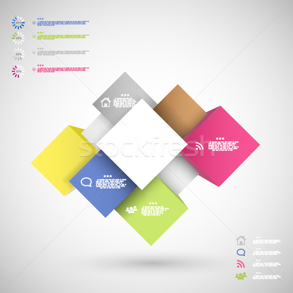 Infographic colorful cubes for data presentation Stock photo © TarikVision