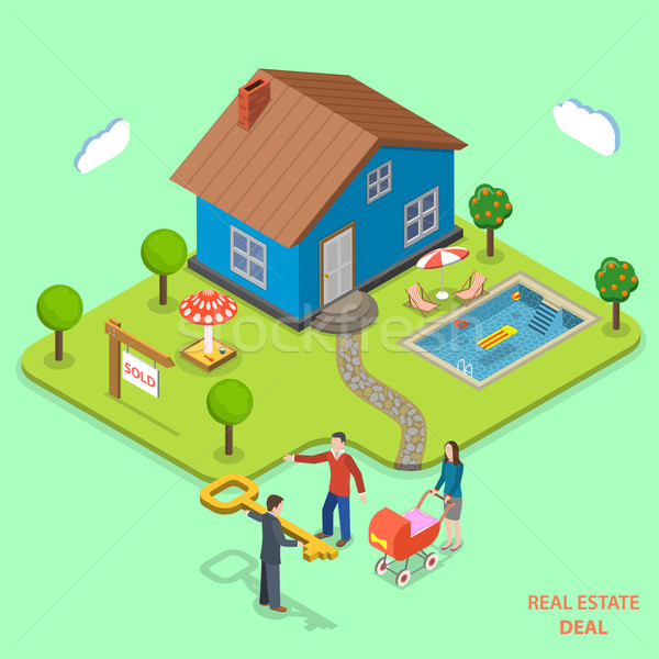 Real estate deal isometric flat vector concept. Stock photo © TarikVision