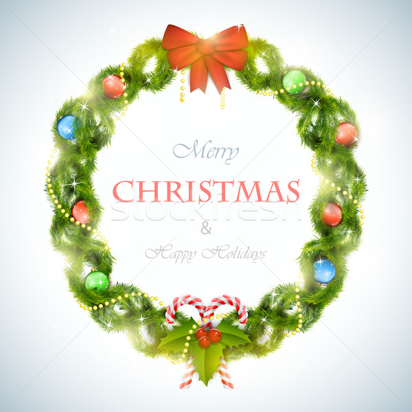 Stock photo: Christmas wreath with greeting vector illustration.
