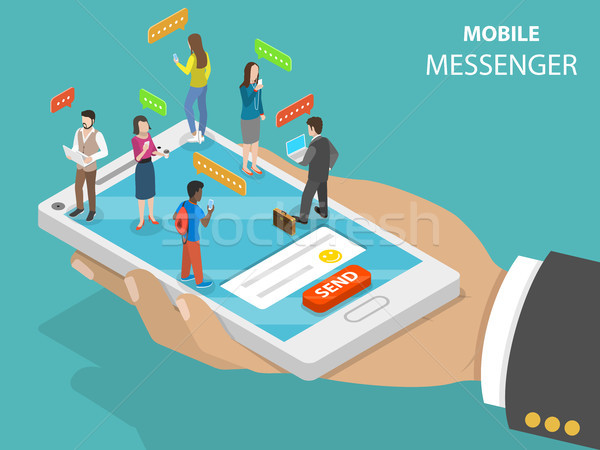Stock photo: Mobile messenger flat isometric vector concept.