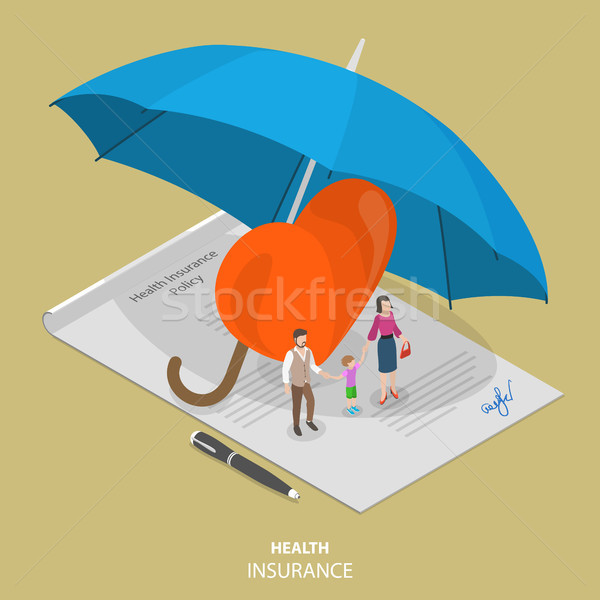 Health insurance flat isometric vector concept Stock photo © TarikVision