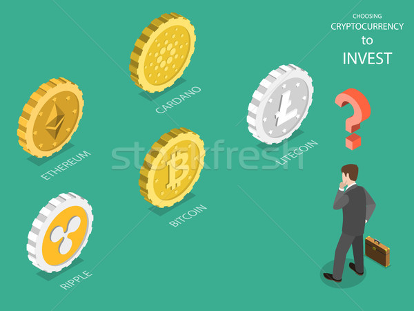 Stock photo: Choosing cryptocurrency flat isometric vector.