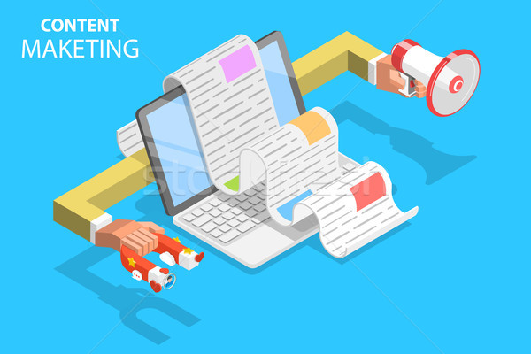 Content strategy isometric flat vector concept illustration. Stock photo © TarikVision
