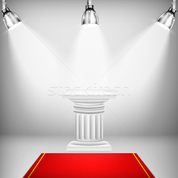 Illuminated Ionic Column With Red Carpet Stock photo © TarikVision