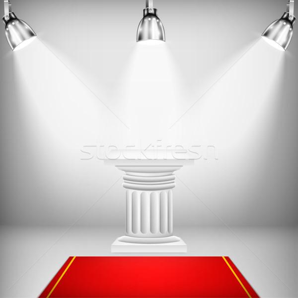 Iluminado iónico columna alfombra roja rojo etapa Foto stock © TarikVision