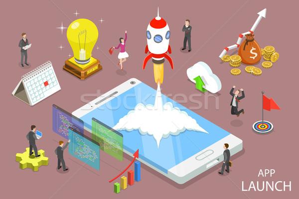 App indulás izometrikus vektor startup ötlet Stock fotó © TarikVision