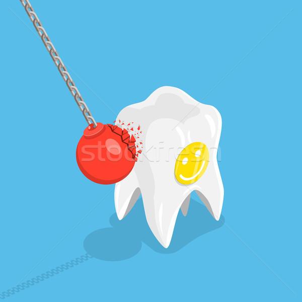 Sterke tanden isometrische vector tand tandheelkundige zorg Stockfoto © TarikVision
