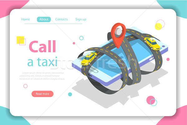 Call a taxi flat isometric vector concept illustration. Stock photo © TarikVision