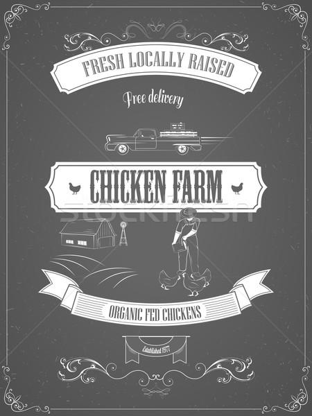 Tavuk çiftlik bağbozumu Filmi vektör poster Stok fotoğraf © TarikVision