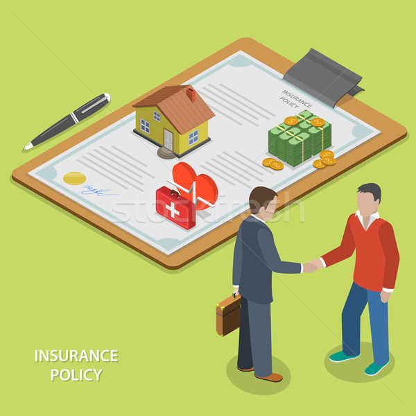 Insurance policy deal flat isometric vector.  Stock photo © TarikVision