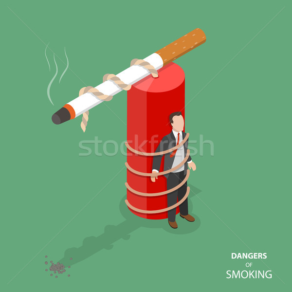 Danger of smoking flat isometric vector concept Stock photo © TarikVision