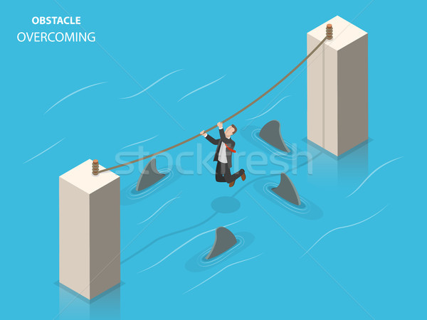 Obstacles overcoming flat isometric vector concept. Stock photo © TarikVision
