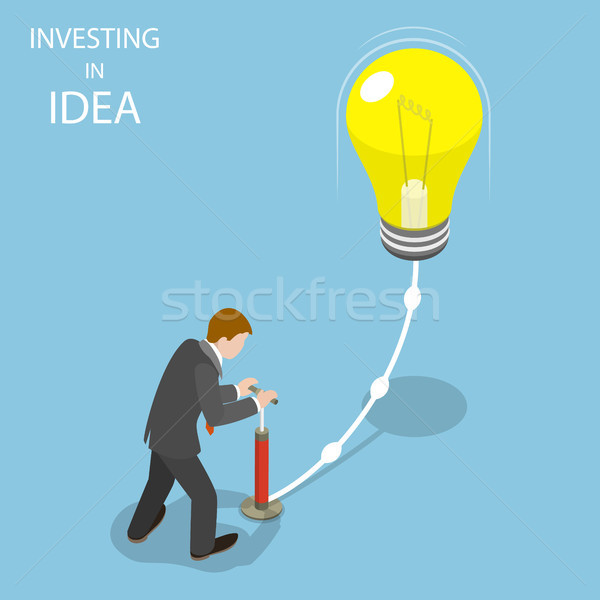 Investing in idea flat isometric vector concept. Stock photo © TarikVision