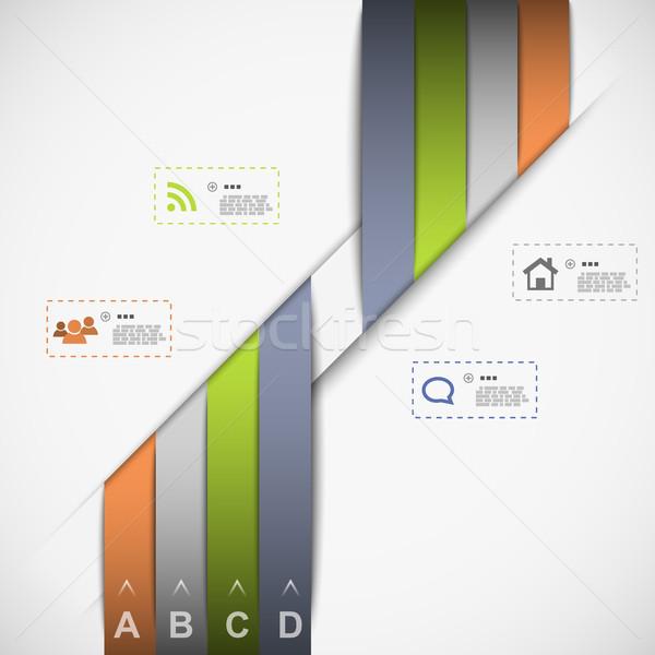 лента шаблон данные презентация eps10 бумаги Сток-фото © TarikVision