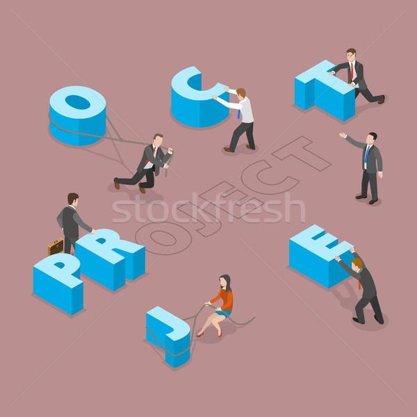 Project isometrische vector groep mensen bewegende groot Stockfoto © TarikVision