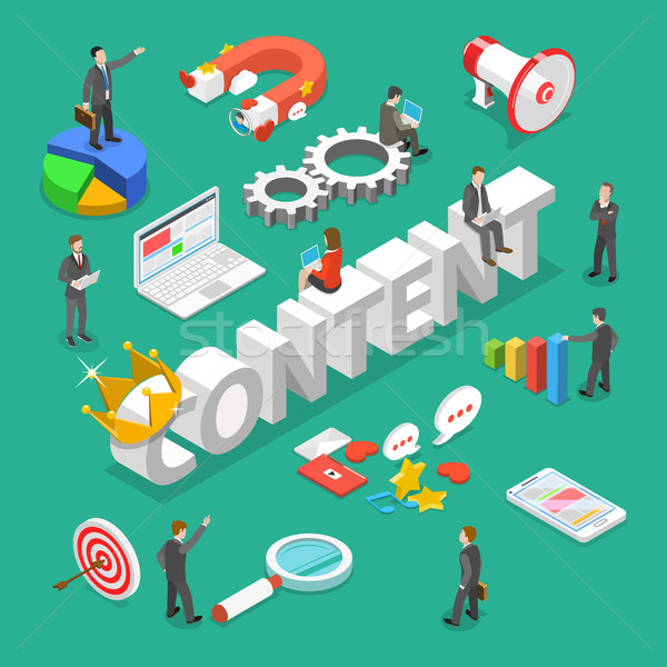 Content is king flat isometric vector concept. Stock photo © TarikVision