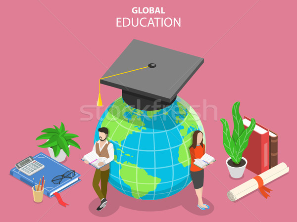 Global online education flat isometric vector concept. Stock photo © TarikVision