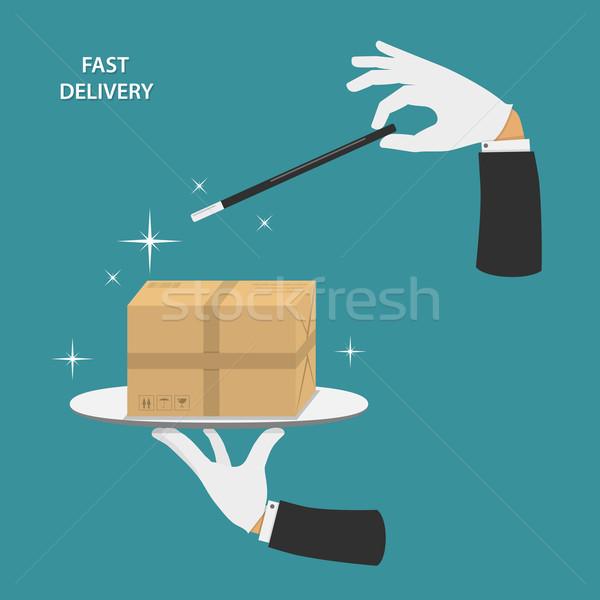 Snel levering hand goochelaar Stockfoto © TarikVision