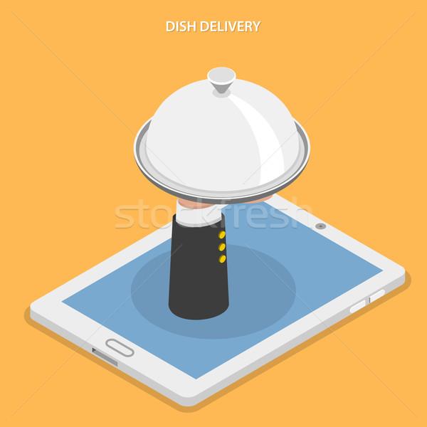 Dish delivery flat isometric vector illustration. Stock photo © TarikVision